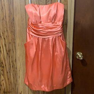 Coral David's Bridal Bridesmaid Dress
